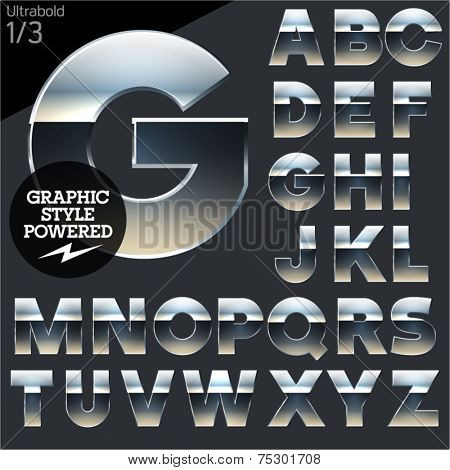Silver chrome and aluminum vector alphabet set. Bold. File contains graphic styles available in  Illustrator