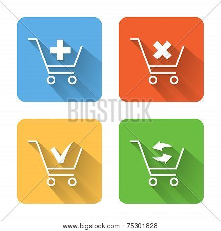 Flat Shopping Cart Icons. Vector Illustration