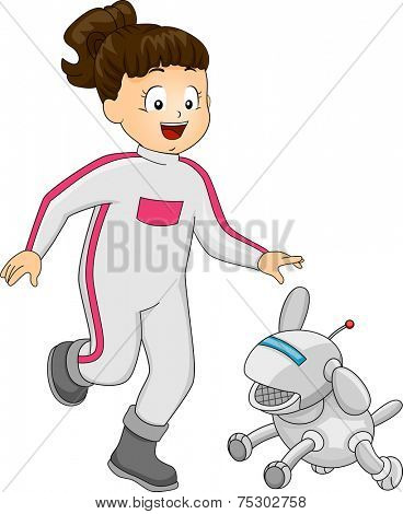Illustration Featuring a Girl Playing with a Robot Dog
