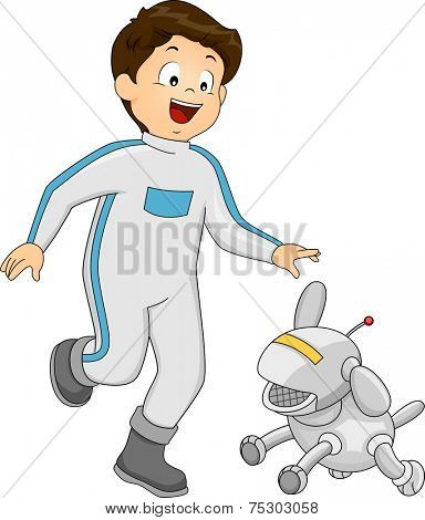Illustration Featuring a Boy Playing with a Robot Dog