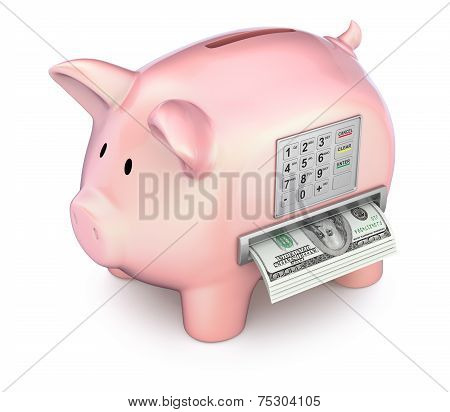 Cash machine in the piggy bank - 3D concept poster