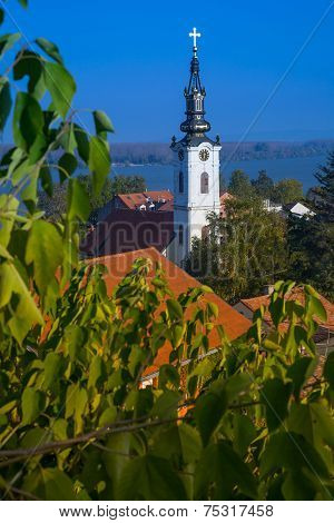 panoramic view from Gardos, Zemun, with Saint Nicholas church, Zemun, Belgrade, Republic of Serbia. poster