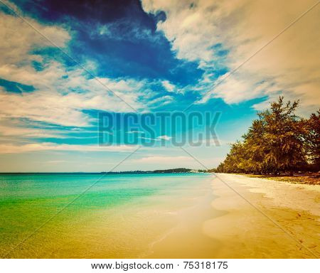 Vintage retro effect filtered hipster style image of Sihanoukville beach with beautiful sky cloudscape, Cambodia