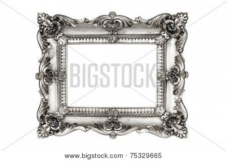 Old antique silver picture frames. Isolated on white background with clipping path.