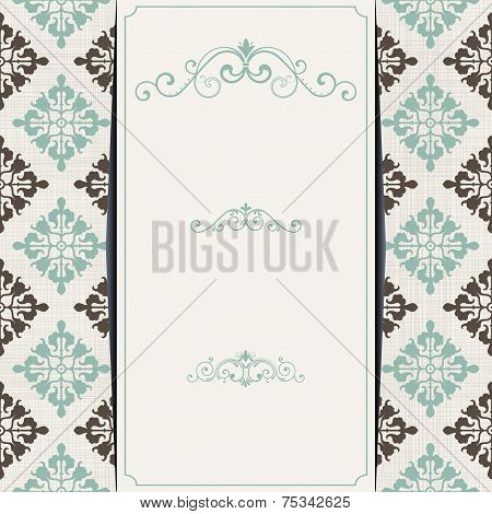 Set Of Vintage Cards With Retro Checkered Seamless Background