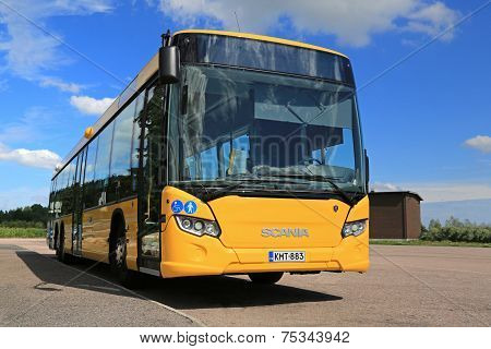 Yellow Scania Citywide Bus At Bus Stop