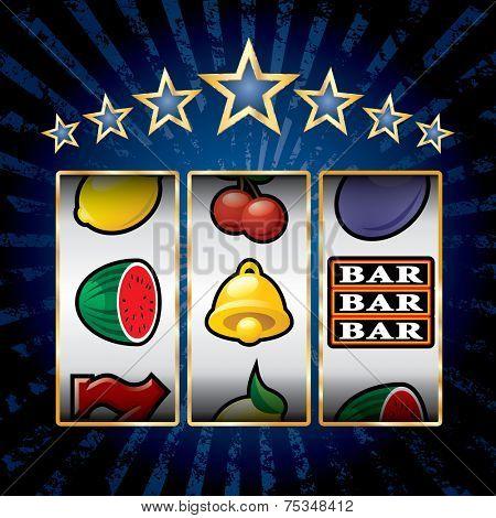 vector icons at slot machine on blue burst background