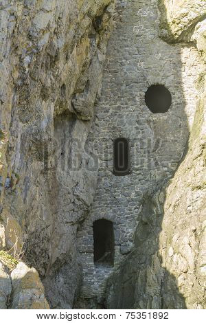 Rumoured to be a smuggler cave Culver Hole was a dovecote dating back to thirteenth or fourteenth century. Port Eynon Gower Peninsula Swansea South Wales United Kingdom. poster