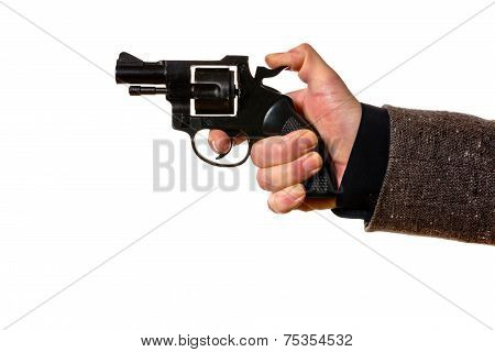 man shooting a handgun on the white background poster