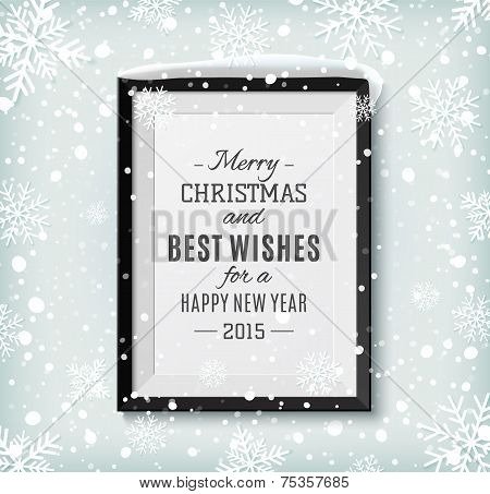 Merry Christmas and Happy New Year text label on a picture frame