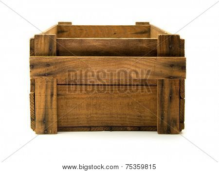 Old wooden crate isolated on white.