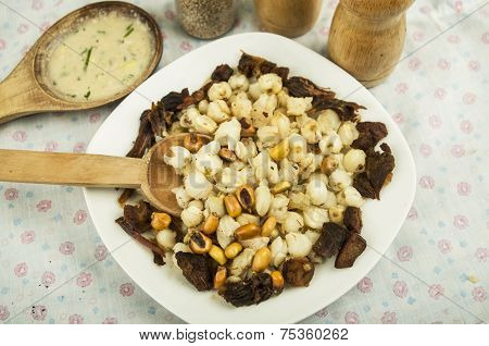 hominy and toasted corn nuts  mote con chicharron traditional ecuadorian food