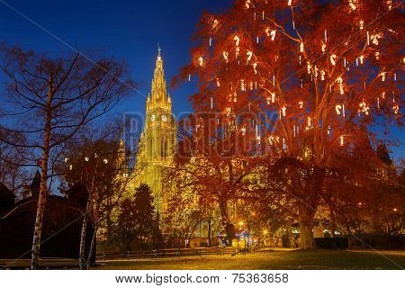 Vienna Town Hall and park decorated for Christmas poster