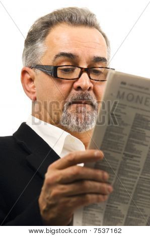 Man Casually Reading His Newspaper.