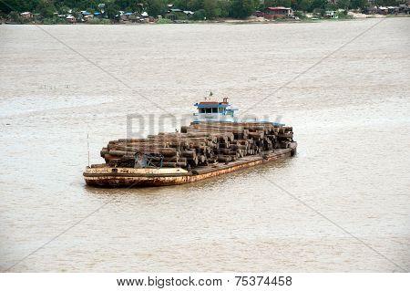 Teak Logs In Timber On Boat In Ayeyarwady River,Myanmar.