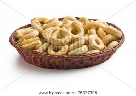 tarallini bread sticks on white background