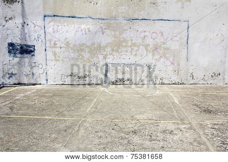 Soccer goal drawn on a wall on concrete playground in Corniglia Italy poster