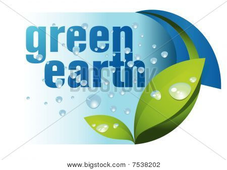 Green earth and water drop