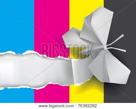 Origami Butterfly Ripping Paper