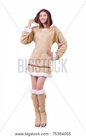 Woman eskimo isolated on white