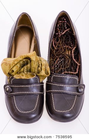 Shoes With Jewelery And Shawl