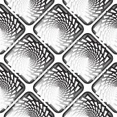Design seamless monochrome vortex twisting pattern. Abstract decorative striped textured background. Vector art poster