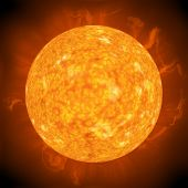 Fiery hot Sun seen through a telescope poster