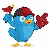 Clipart Picture of a Blue Bird Supporter Cartoon Character poster
