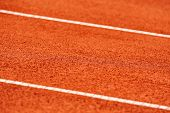 Detail with sidelines on a wet tennis clay court poster