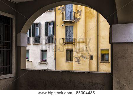 Traditional Italian Buildings Through a Balcony. Padua poster