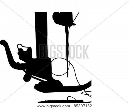 Silhouette of the sewing machine. Vector illustration. Isolated on white.