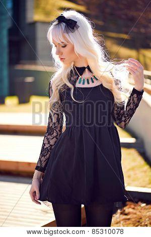 Lovely Blonde Girl In Posing