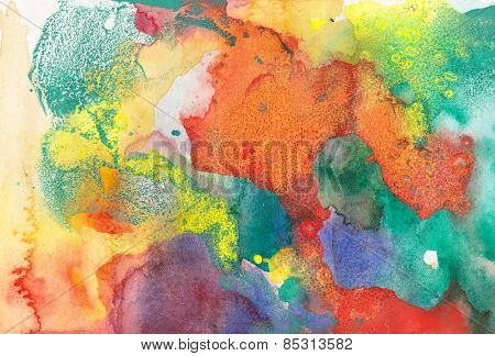 Abstract painted ink and watercolor background