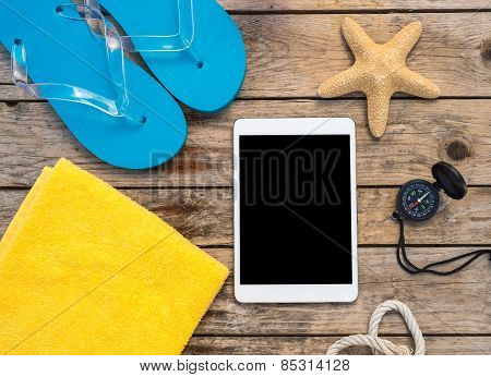 Wooden Background With Starfish, Tadlet And Shell - Maritime Decoration.