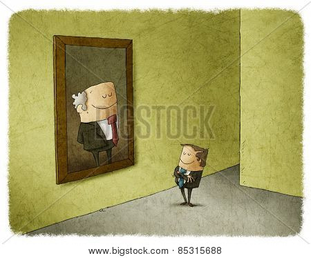 Businessman admiring portait of his predecessor