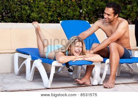 Pool Fun Relax Couple