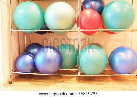 Exercise balls in fitness center