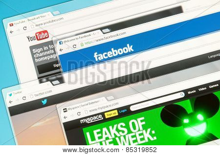 Social Networks On A Computer Screen. Facebook, Twitter, Youtube And Myspace.