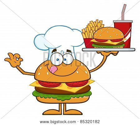 Chef Hamburger Cartoon Character Holding A Platter With Burger, French Fries And A Soda