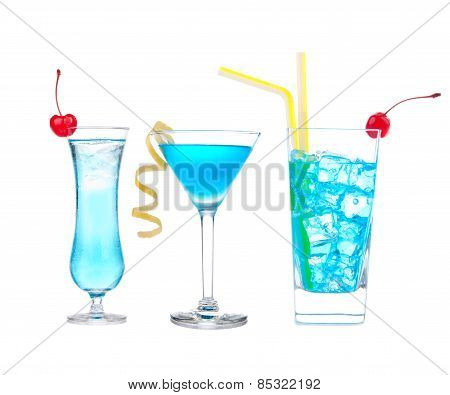 Three cocktails with alcohol margarita cocktail martini blue hawaian Iced tea with maraschino cherry isolated on a white background poster