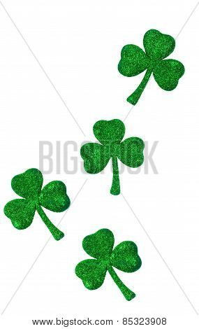 Shamrocks On Vertical White Background