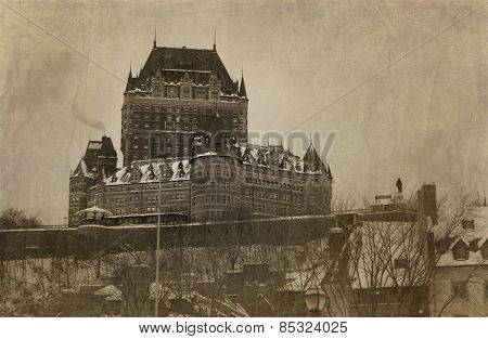 View of Chateau Frontenac in Quebec city, Canada in sepia with textures.  Cross processed to look like and used picture.