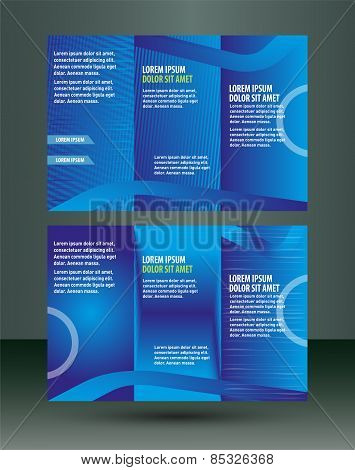Professional three fold business flyer template, corporate brochure or cover design, print Vector