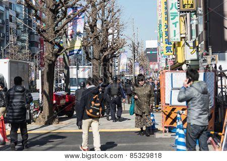 Crowd People City Around Akihabara