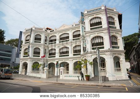 SINGAPORE - JANUARY 26, 2015: Peranakan Museum is a museum in Singapore specialising in Peranakan culture. Museum opened on 2008, in permanent galleries showcasing main themes of Peranakan life.