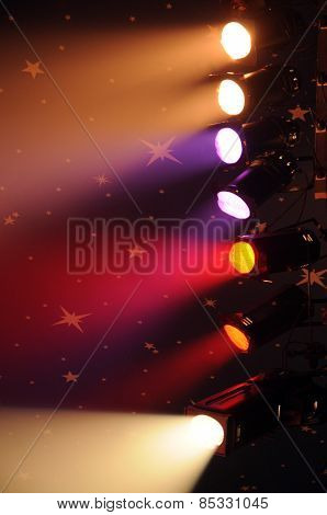 Vertical Picture Of Spotlights In A Circus