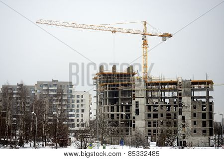 Construction Of New Houses In Lithuania Vilnius City Fabijoniskes District