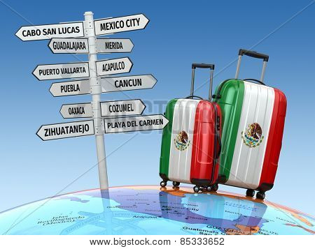 Travel concept. Suitcases and signpost what to visit in Mexico. 3d