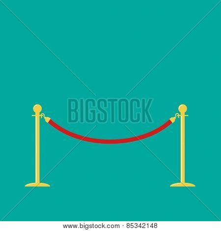 Red Rope Golden Barrier Stanchions Turnstile On Green Background Flat Design