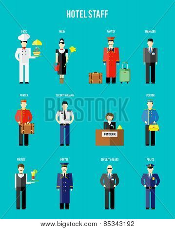 Vector hotel staff. Securityguard and police, receptionist and concierge, porter and waiter poster